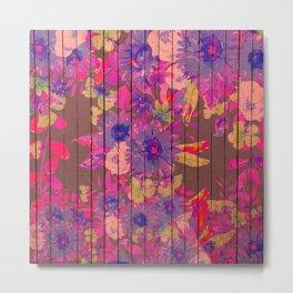 Brown wood magenta purple watercolor floral Metal Print