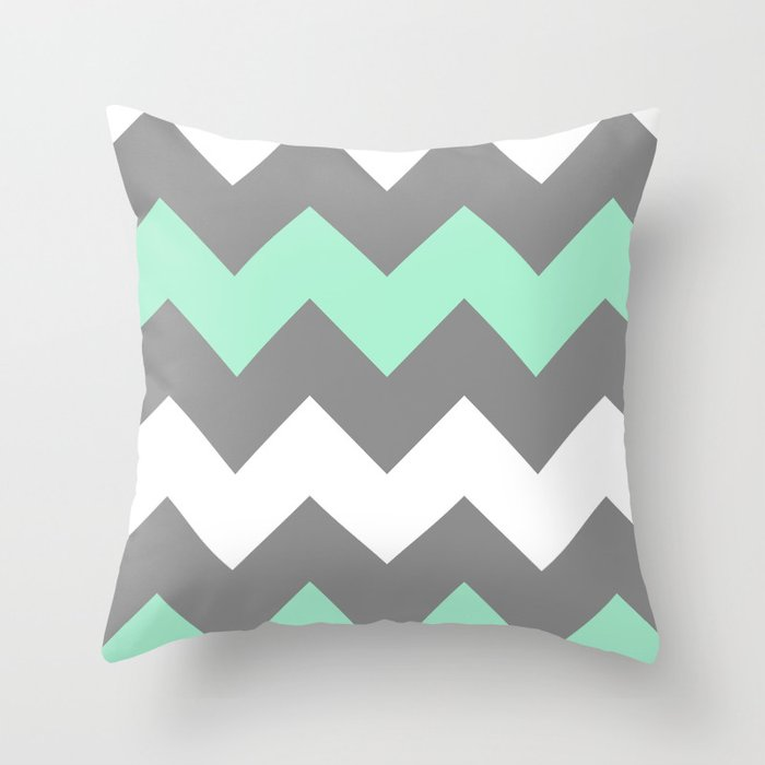 Mint White Grey Chevron Throw Pillow by creativeangel Society6