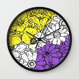 Non binary flowers Wall Clock