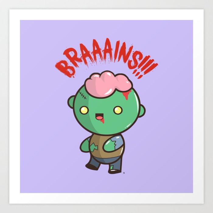 Zombie Kawaii Braaains Brains Halloween Art Print By Steelartstudios