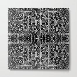 Black and White Tribal Geometric Pattern Print Metal Print