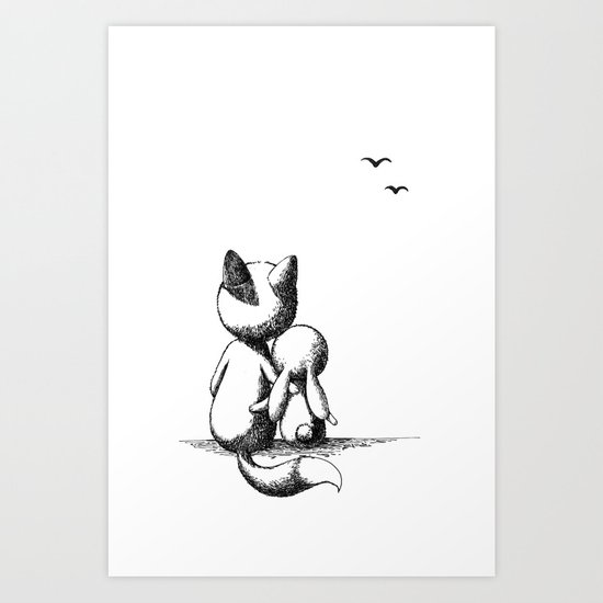 Fox and a rabbit Art Print