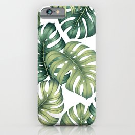 Monstera botanical leaves illustration pattern on white iPhone Case