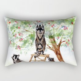 Cute Raccoons in the Orchard Rectangular Pillow