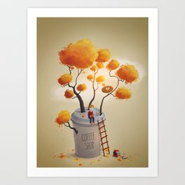 Coffee Shop Tree Art Print