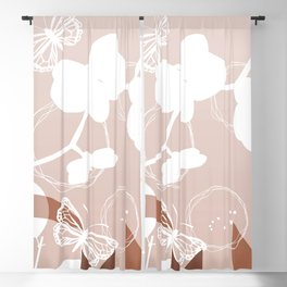 Botanicals and Butterfly Graphic Design Sherwin Williams Cavern Clay SW7701 Blackout Curtain