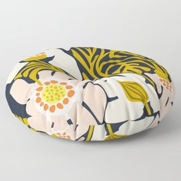 Backyard flower – modern floral illustration Floor Pillow