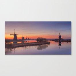 I - Traditional windmills at sunrise, Kinderdijk, The Netherlands Canvas Print