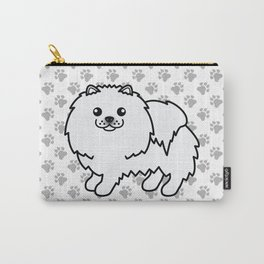 White Pomeranian Dog Cute Cartoon Illustration Carry-All Pouch