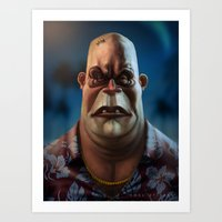 mike tyson Art Prints featuring Mike Tyson Punch Out- King Hippo by Joel Stieber