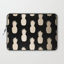 Gold Pineapples Pattern Black Laptop Sleeve