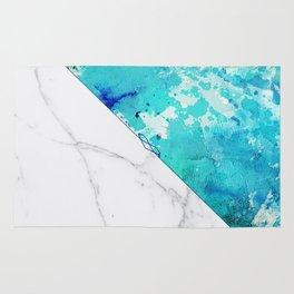 Teal watercolor paint splatters white marble Rug