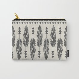 Tribal Feathers-Black & Cream Carry-All Pouch