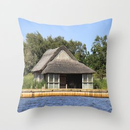 Horsey mere thatched cottage Throw Pillow