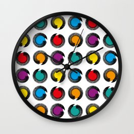 abstract modern pattern background with colorful grunge circles Poster Wall Clock