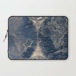 Antique World Map Gold Navy Blue Library Laptop Sleeve
