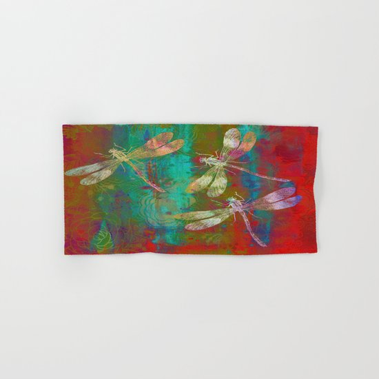 Colorful Dragonflies Hand & Bath Towel