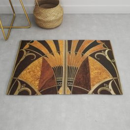 art deco wood Rug