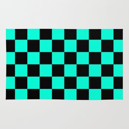 Black and Aqua Checkerboard Pattern Rug