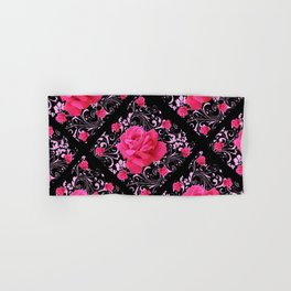 FUCHSIA PINK ROSE BLACK BROCADE GARDEN ART Hand & Bath Towel