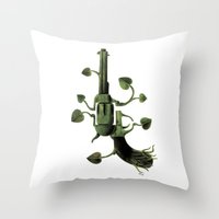 gun Throw Pillows featuring Gun by mariotarrago