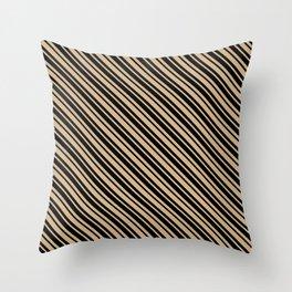Tan Brown and Black Diagonal LTR Var Size Stripes Throw Pillow