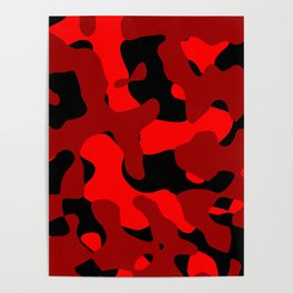 Black and Red Camo abstract Poster