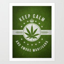 Keep calm and smoke marijuana - Green Art Print