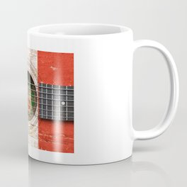 Old Vintage Acoustic Guitar with Peruvian Flag Coffee Mug