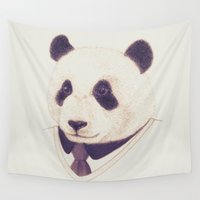panda Wall Tapestries featuring Panda by Voir Designs