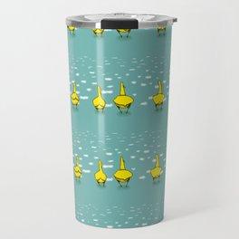 Preppy Ducks In a Row Striped Pattern Travel Mug