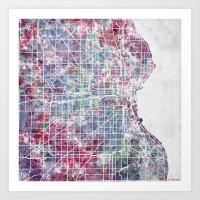 milwaukee Art Prints featuring Milwaukee map by MapMapMaps.Watercolors