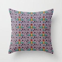 Pastel Skull & Wing Pattern Throw Pillow