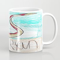 monty python Mugs featuring The Python by Ryan van Gogh