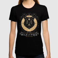 Wild & Free Wolf – Gold & Grey Womens Fitted Tee Black SMALL