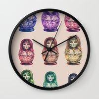 russia Wall Clocks featuring Russia by Galvanise The Dog