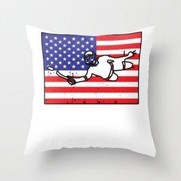 Underwater Hockey American Flag Throw Pillow