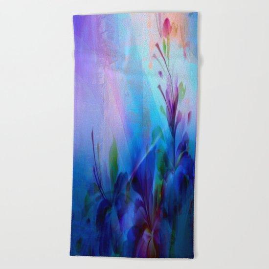Sunset Painterly Floral Beach Towel