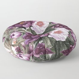 Purple Plum Pink Watercolor Peonies and Greenery Floor Pillow