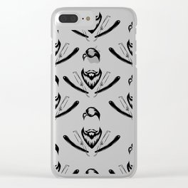 Manly Beard and Straight Razor Pattern Clear iPhone Case