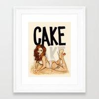 cake Framed Art Prints featuring CAKE  by Helen Green