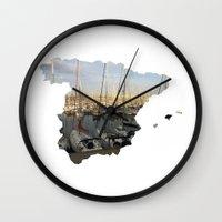 spain Wall Clocks featuring Spain by Isabel Moreno-Garcia