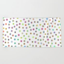 Snowflakes snow winter ice cold Beach Towel