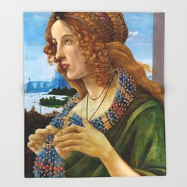 "Sandro Botticelli ""Allegorical Portrait of a Lady (Simonetta Vespucci ?)"" Throw Blanket"