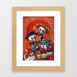 Dia de Muertos Musical Skeleton Band Framed Art Print