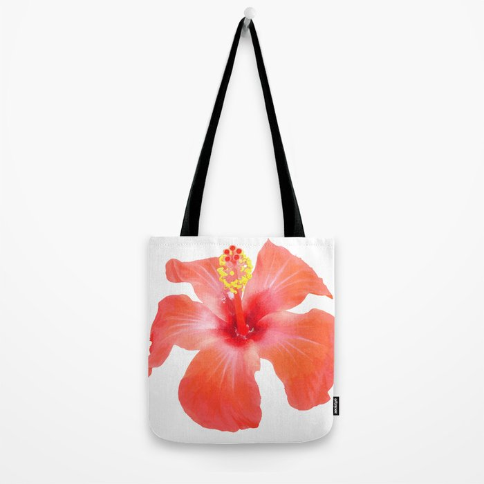 Red Hibiscus Vector Isolated Tote Bag