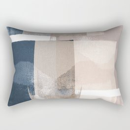 "Navy and Pink Minimalist Geometric Abstract ""Building Blocks"" Rectangular Pillow"