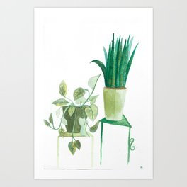 watercolor potted plants // macrame bohemian green house plant garden terrarium Art Print