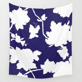 Chinoiserie Silhouette Navy Wall Tapestry