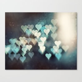Heart Love Photography, Abstract Teal Turquoise Aqua Black Hearts Canvas Print